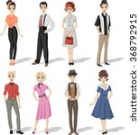 group of retro people wearing... | Shutterstock .eps vector #368792915