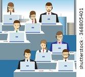 men and women working in a call ... | Shutterstock . vector #368805401