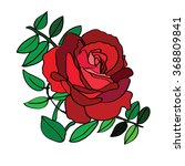 red rose with green leaves | Shutterstock .eps vector #368809841
