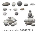 set of pebbles and natural... | Shutterstock .eps vector #368812214