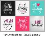 hello friday lettering postcard ...   Shutterstock .eps vector #368815559