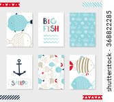 set of 6 cute creative cards... | Shutterstock .eps vector #368822285
