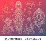 set hindu gods ganesh  hanuman  ... | Shutterstock .eps vector #368916101