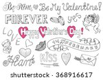 valentine's day doodle set with ... | Shutterstock .eps vector #368916617