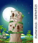 stone house in fullmoon night... | Shutterstock .eps vector #368969525