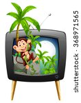 Tv Screen With Monkey On The...