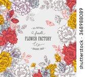 vintage peony flower background.... | Shutterstock .eps vector #368988089
