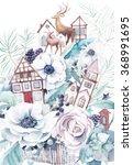 watercolor winter fairytale... | Shutterstock . vector #368991695