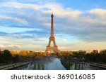 the famous eiffel tower in the... | Shutterstock . vector #369016085