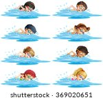 many children swimming in the... | Shutterstock .eps vector #369020651