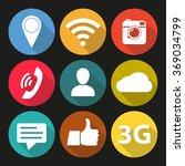 social network icon set. media... | Shutterstock . vector #369034799