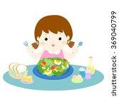 girl love eating fresh... | Shutterstock .eps vector #369040799