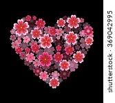 heart with 3d effect. sakura... | Shutterstock .eps vector #369042995