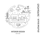 Interior design  round concept made in modern line style. Living room vector illustration. Can be used for infographics design, web elements.  | Shutterstock vector #369064565