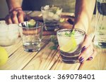 cocktail in a glass with ice.... | Shutterstock . vector #369078401