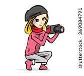 cute girl photographer in... | Shutterstock .eps vector #369084791