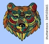 patterned bear's head in the... | Shutterstock . vector #369103661