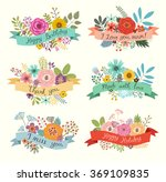 floral hand drawn set. vector... | Shutterstock .eps vector #369109835