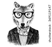 dressed up hand drawn wolf... | Shutterstock .eps vector #369119147