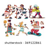 vector illustration set of ski  ... | Shutterstock .eps vector #369122861