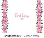 vector border with pink peonies ... | Shutterstock .eps vector #369144941