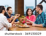 friends eating pizza with beer... | Shutterstock . vector #369150029