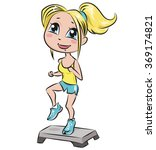 young girl doing aerobic... | Shutterstock .eps vector #369174821