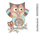 owl doodle vector | Shutterstock .eps vector #369205811