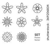 set of vectorized flowers black | Shutterstock .eps vector #369206834