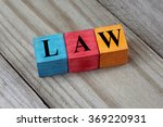 law text on colorful wooden... | Shutterstock . vector #369220931