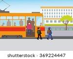 children go out of the tram... | Shutterstock .eps vector #369224447