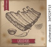 vintage grilled ribs template...