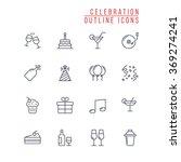celebration outline icons | Shutterstock .eps vector #369274241