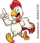 Cartoon Chicken Walking. Vecto...