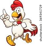 Cartoon Chicken Walking. Vecto...