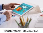 businessman working on tablet... | Shutterstock . vector #369360161