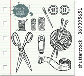 set with sketch sewing... | Shutterstock .eps vector #369395651