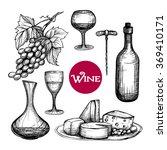 hand drawn wine set | Shutterstock . vector #369410171