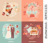 wedding concept 4 flat icons... | Shutterstock . vector #369411131