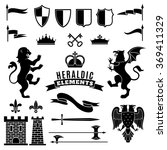 heraldic elements black white...   Shutterstock . vector #369411329