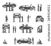 auto mechanic black icons set | Shutterstock . vector #369414011