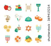 symbols of hanukkah icons set | Shutterstock . vector #369415214