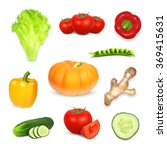 Set Of Vegetables. Vector Icon...