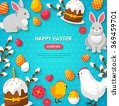happy easter blue background.... | Shutterstock .eps vector #369459701