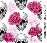 skull and roses .vector... | Shutterstock .eps vector #369477311