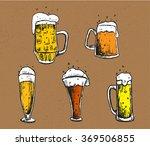 vector set of beer mugs and... | Shutterstock .eps vector #369506855