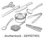 kitchen utensil sketches | Shutterstock .eps vector #369507401