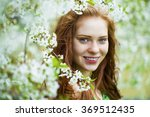 spring beauty girl with long... | Shutterstock . vector #369512435