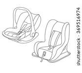 baby car seats set line... | Shutterstock .eps vector #369516974