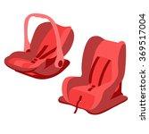 red baby car seats set vector | Shutterstock .eps vector #369517004